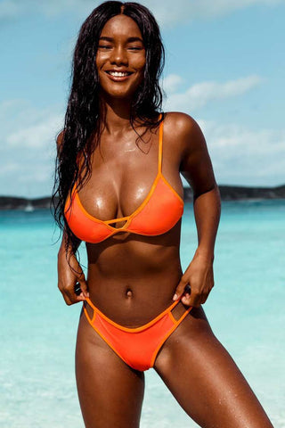 Contrast Cutout Triangle Bikini Swimsuit in Orange