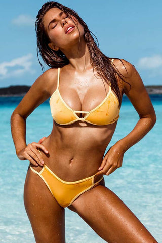 Contrast Cutout Triangle Bikini Swimsuit in Yellow