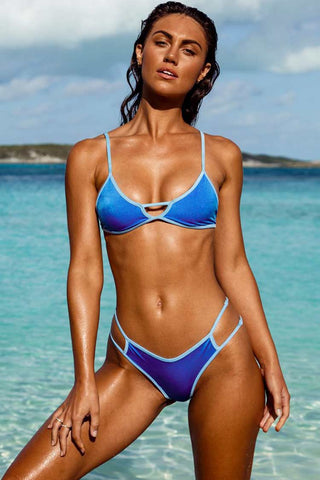 Contrast Cutout Triangle Bikini Swimsuit in Blue