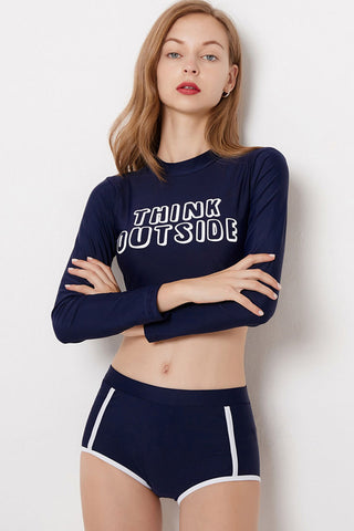 Contrast Slogan Surf Rash Guard Boyshort Bikini Swimsuit in Navy