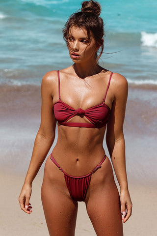 Cutout Knotted Front String Brazilian Bikini Swimsuit in Burgundy