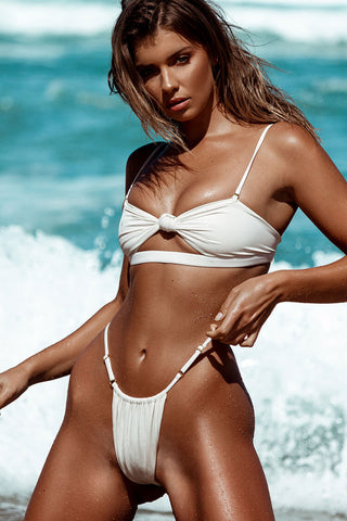Cutout Knotted Front String Brazilian Bikini Swimsuit in White