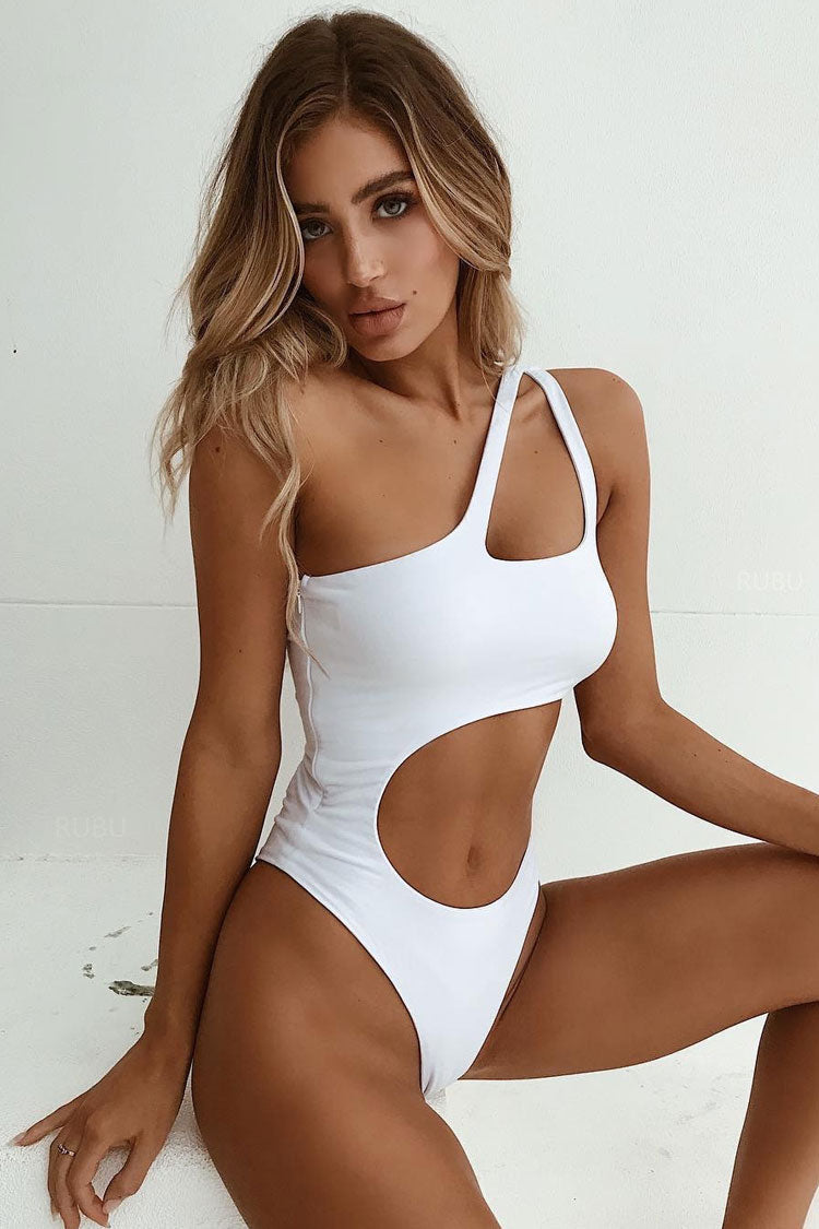 Cutout One Shoulder One Piece Swimsuit in White