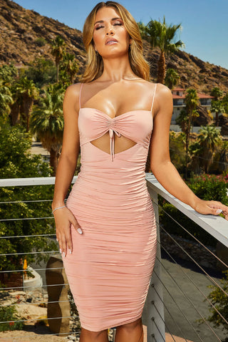 Drawstring Cutout Ruched Midi Bodycon Beach Dress in Pink