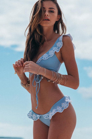 Embroider Scalloped Ruffle Cross Wrap Bikini Swimsuit in Sky Blue