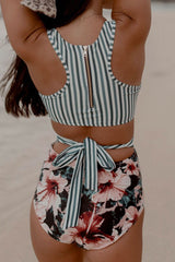 Floral Cutout Racerback One Piece Swimsuit in Stripe