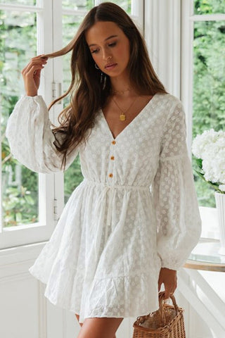 Floral Embossed Sleeved Flare Beach Dress in White