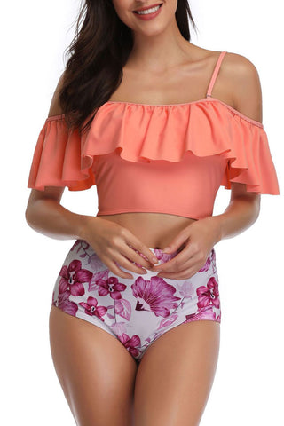 Floral High Waist Ruffle Off The Shoulder Bikini Swimsuit in Orange Pink