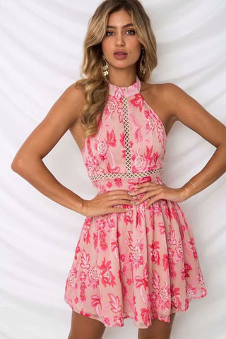Floral Tie Back Chiffon Halter Beach Dress in Pink