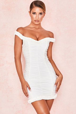 Frilled Ruched Off Shoulder Mini Bodycon Beach Dress in White