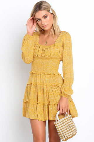 Frilled Tiny Floral Sleeved Chiffon Beach Dress in Yellow