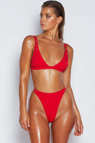 Grommet High Cut Triangle Bikini Swimsuit in Red