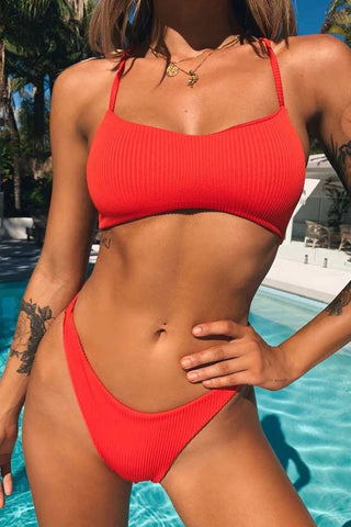High Cut Crisscross Back Ribbed Bralette Bikini Swimsuit in Red
