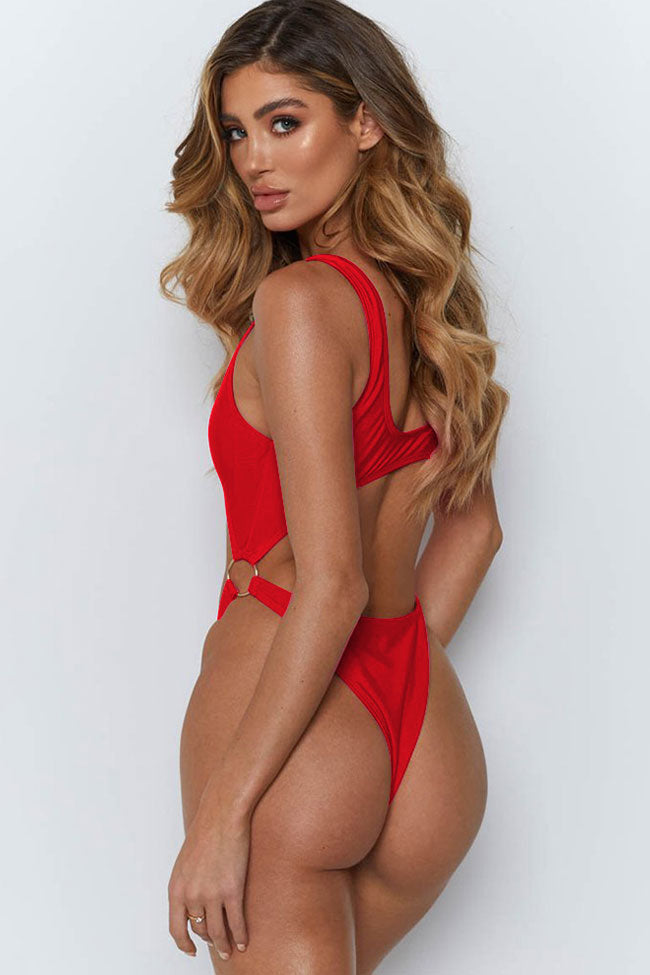 High Cut Cutout Zipper Front One Piece Swimsuit in Red