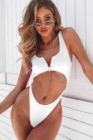 High Cut Cutout Zipper Front One Piece Swimsuit in White