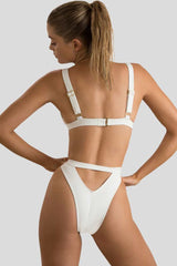 High Cut Zip Detail Triangle Bikini Swimsuit in White