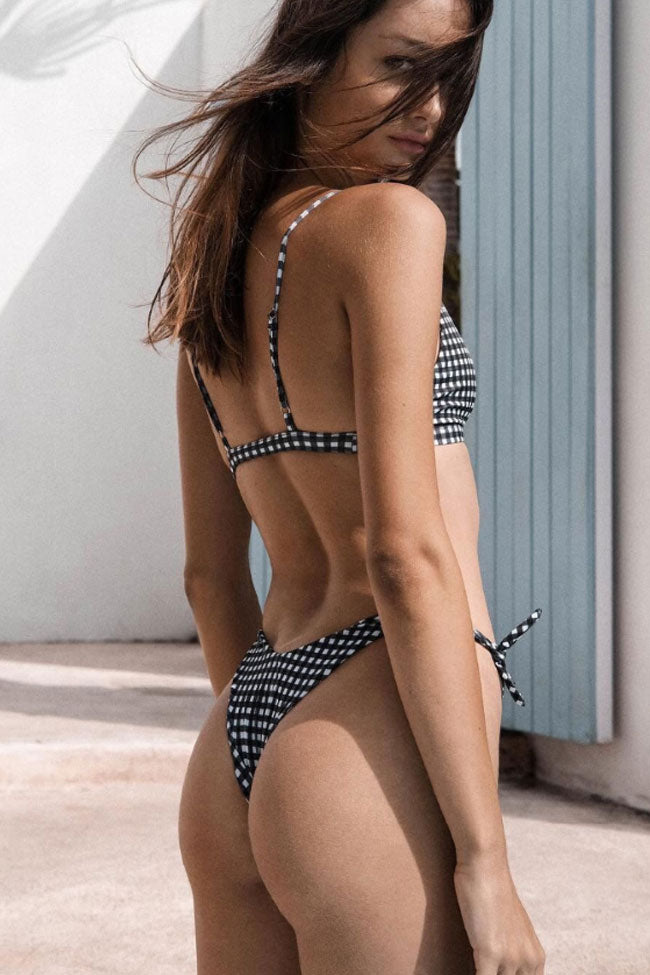 Knotted Details Cheeky Brazilian Bikini Swimsuit in Gingham
