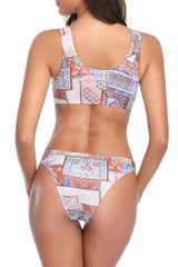 Knotted Front Handkerchief Printed Bikini Swimsuit in Multicolor