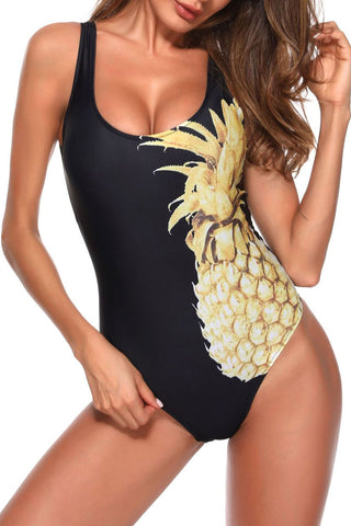 Low Back High Cut Pineapple One Piece Swimsuit in Black
