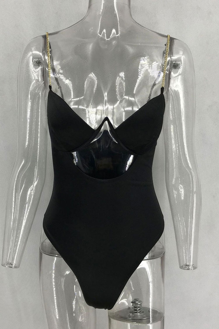09243a905f High Cut V Wire Cutout One Piece Swimsuit in Black – Mode Cute