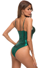 Metallic High Cut V Wire Cutout One Piece Swimsuit in Green