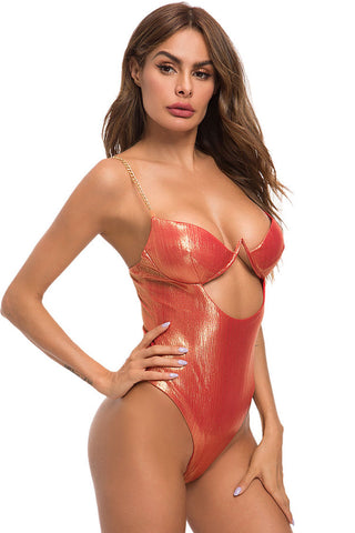 Metallic High Cut  V Wire Cutout One Piece Swimsuit in Orange