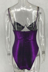 Metallic High Cut V Wire Cutout One Piece Swimsuit in Purple