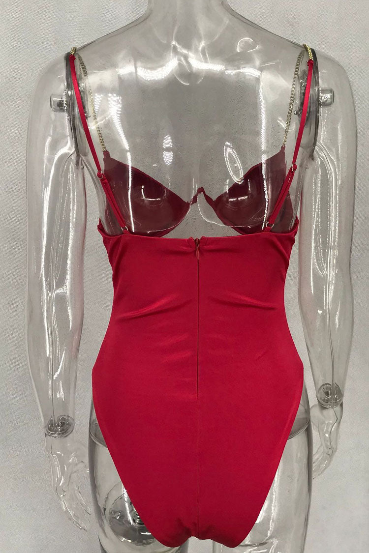 High Cut V Wire Cutout One Piece Swimsuit in Red
