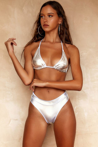 Metallic Sliding Triangle Bikini Swimsuit in Silver