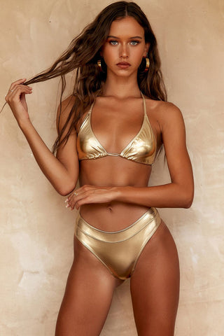 Metallic Sliding Triangle Bikini Swimsuit in Gold