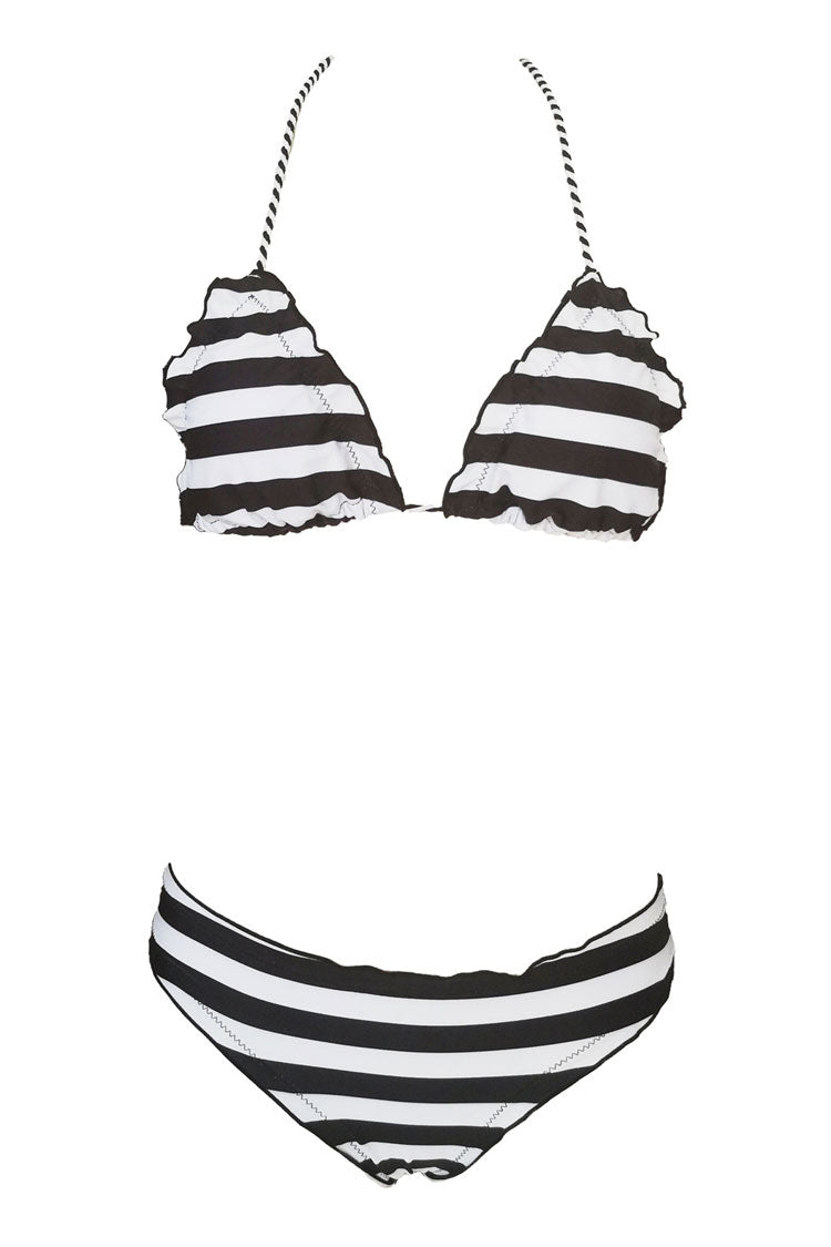 Nautical Ruffle Strappy Sliding Triangle Bikini Swimsuit in Striped