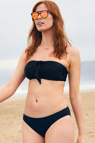 Pretty Self Tie Bandeau Bikini Swimsuit in Black