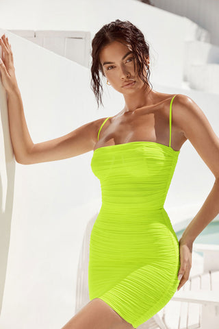 Ruched Mini Bodycon Bandeau Mesh Beach Dress in Neon Green