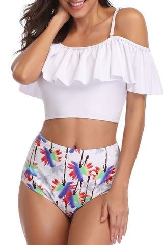 Ruffle Floral High Waist Off The Shoulder Bikini Swimsuit in White