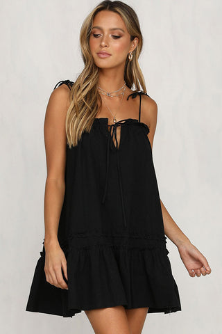 Self Tie Frilled A-Line Babydoll Beach Dress in Black