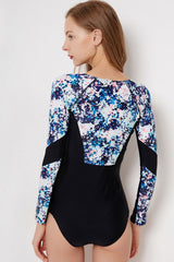 Sleeved Floral Rash Guard Two Piece Swimsuit in Blue