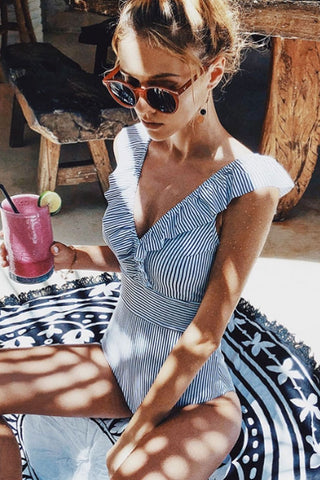 Smocked Waist Ruffle V Neck One Piece Swimsuit in Striped
