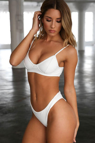 Solid Brazilian Cut Push Up Bikini Swimsuit in White