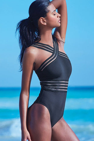 Solid Crisscross Details Splicing Mesh One Piece Swimsuit in Black