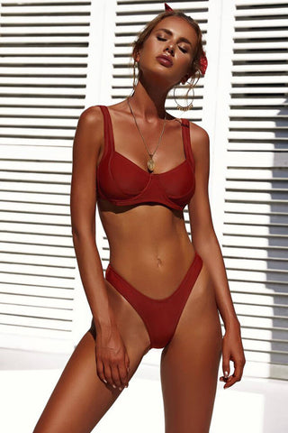 Solid High Cut Underwire Brazilian Bikini Swimsuit in Burgundy