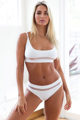 Solid Splicing Mesh Bralette Bikini Swimsuit in White