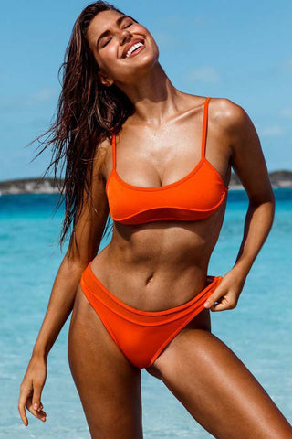 Splicing Mesh Bralette Bikini Swimsuit in Orange