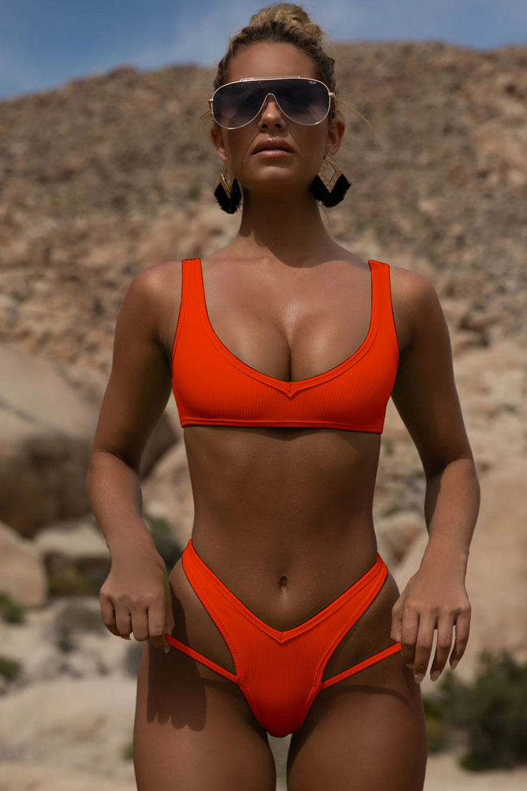 Sporty Ribbed Thong Brazilian Bikini Swimsuit in Orange Red