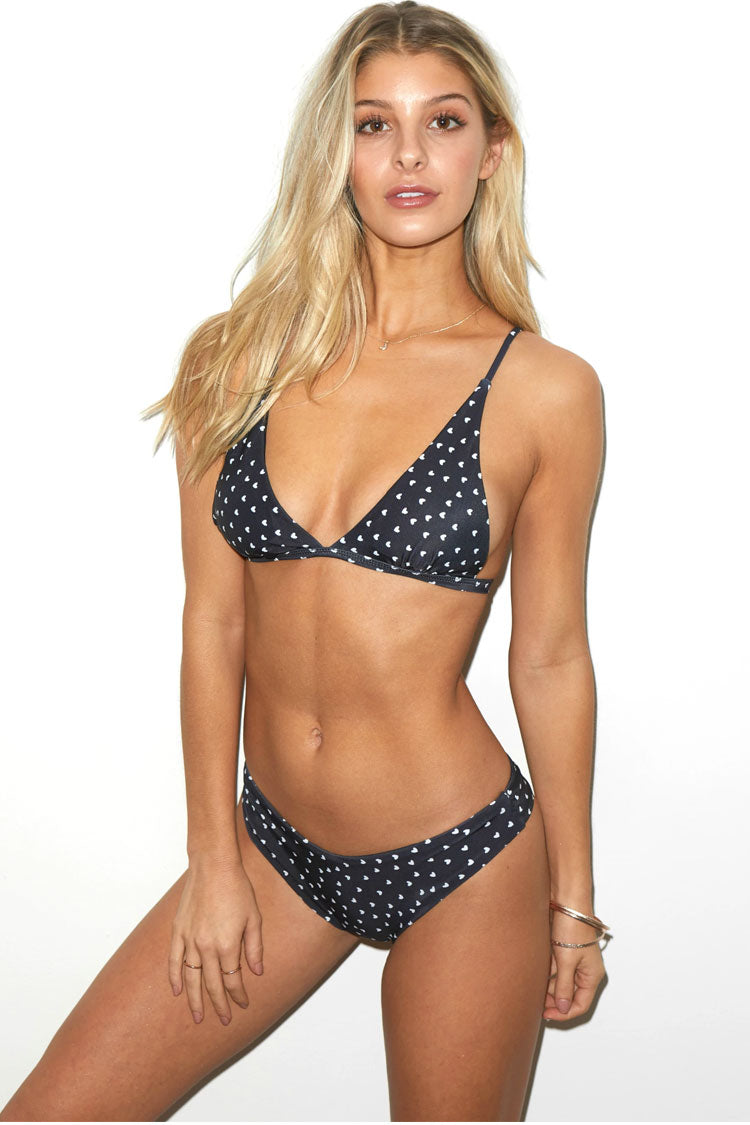 Sweetheart Printed Triangle Bikini Swimsuit in Black