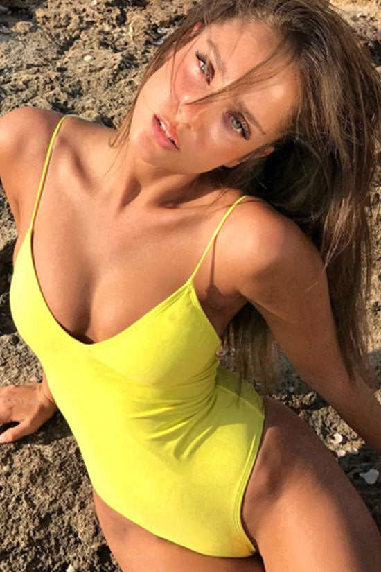 e8e97a27626 Trendy Deep V Criss Cross Straps High Cut One Piece Swimsuit in Yellow