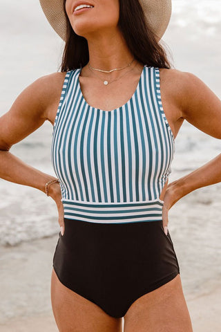 Vertical Striped Zipper Racerback One Piece Swimsuit in Blue