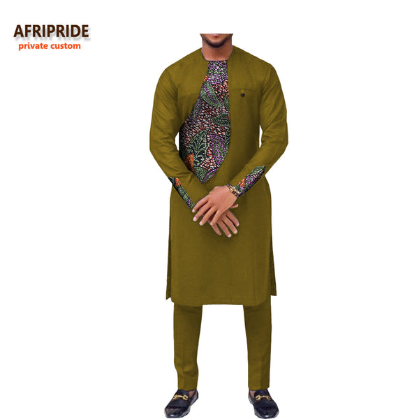 2018 spring new african clothing men's suit AFRIPRIDE long sleeve o-neck knee-length top+ankle-length pants 100% cotton A731606 1