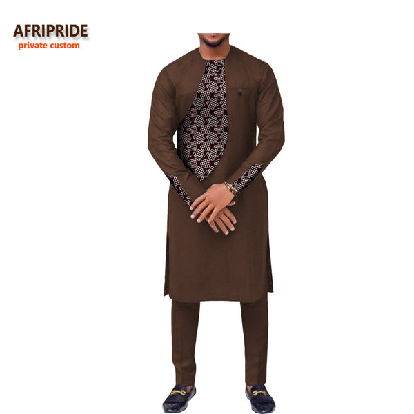 2018 spring new african clothing men's suit AFRIPRIDE long sleeve o-neck knee-length top+ankle-length pants 100% cotton A731606