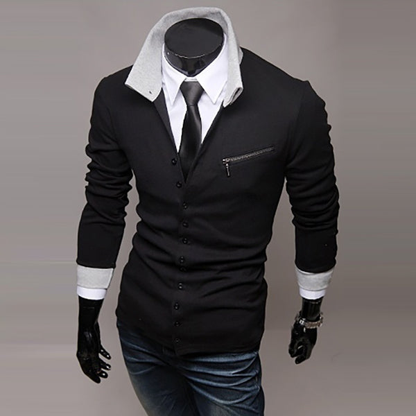 Mens Fashion Personality Long-Sleeved Slim Lapel Casual Shirt