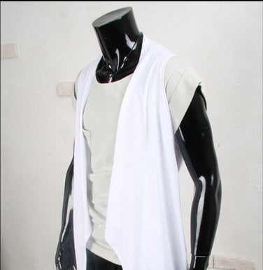 2 Color NewArrival Men Fashion Open Collar Casual Vest No Buckle Irregular Solid Color Sleeveless Cardigan Outerwear Plus Size